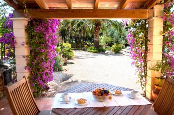 Essplatz mit Blick zum Pool und Garten