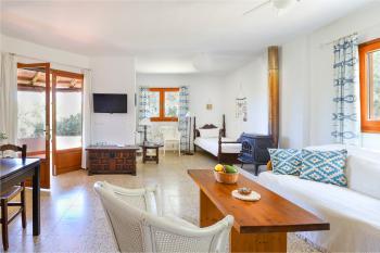 Wohnraum mit Sat-TV und Holzofen