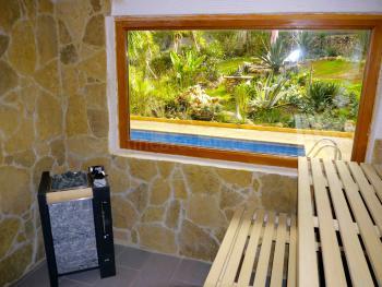 Sauna mit Blick zum Pool