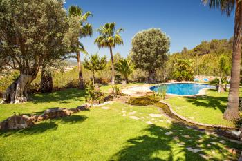 Gartenanlage mit großem Pool und Teich